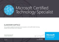 Microsoft Certified Technology Specialist: Microsoft Windows Vista, Configuration
